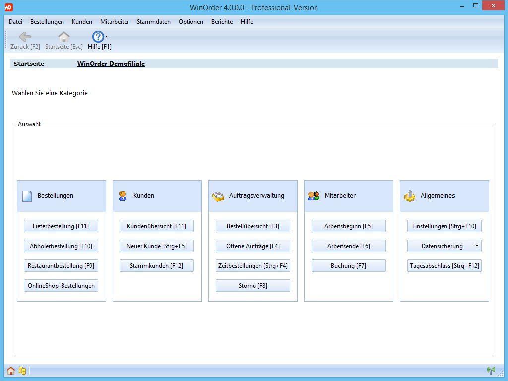 Screenshot vom Programm: WinOrder