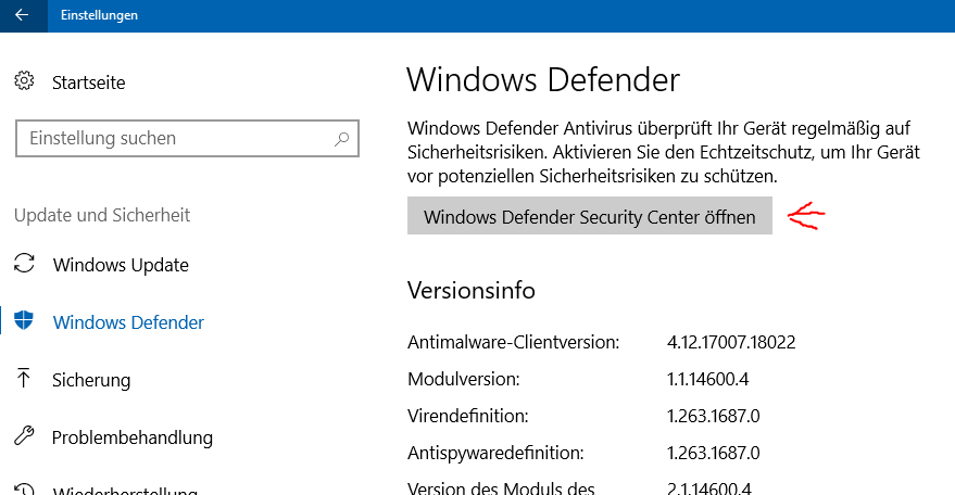 Windows Defender (Windows 10): Ausnahme definieren