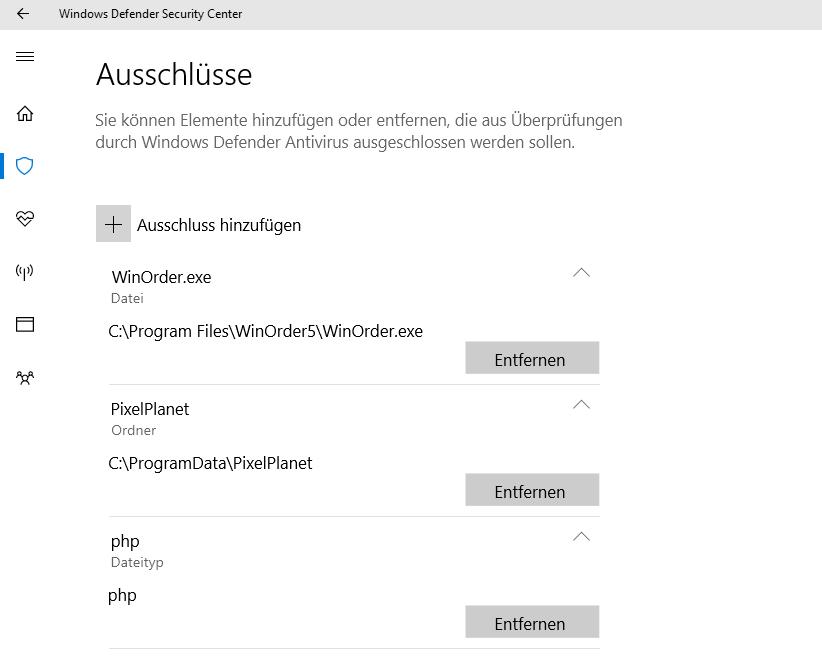 Windows Defender (Windows 0): Auschlüsse für WinOrder