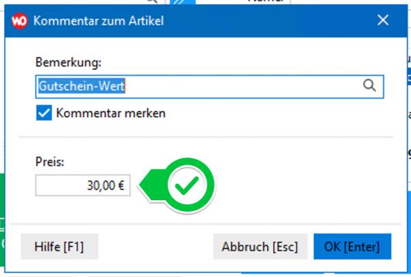 Gutschein-Verkauf: Wert angeben