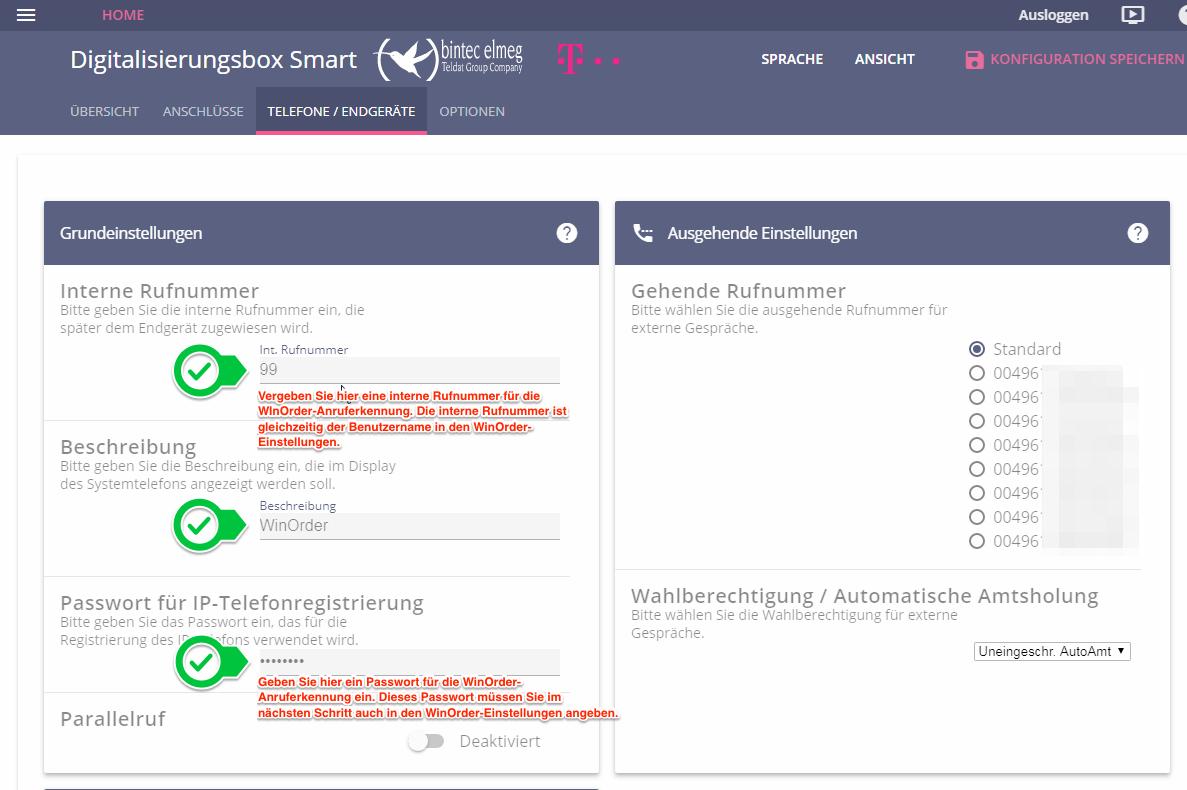 Einstellungen für WinOrder in der Telekom Digitalisierungsbox Smart