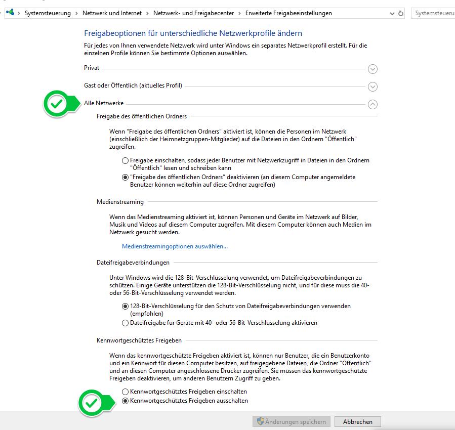 Windows 10: Kennwortgeschütztes Freigeben ausschalten