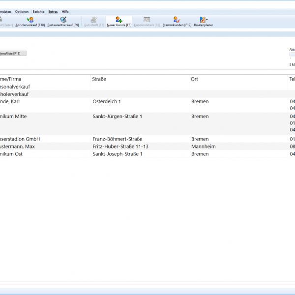 Screenshot: WinOrder Kundensuche