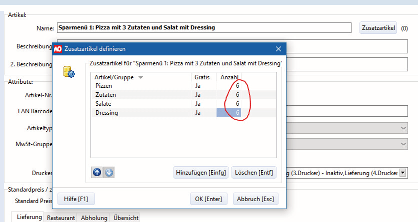 Screenshot: Menüs in WinOrder anlegen (Beispiel)