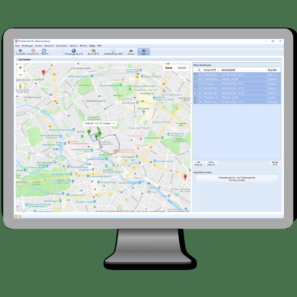Visuelle (Kartenansicht) Routenplanung mit WinOrder