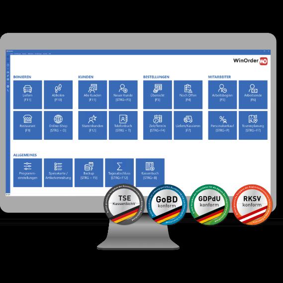 Startseite der WinOrder Kassensoftware