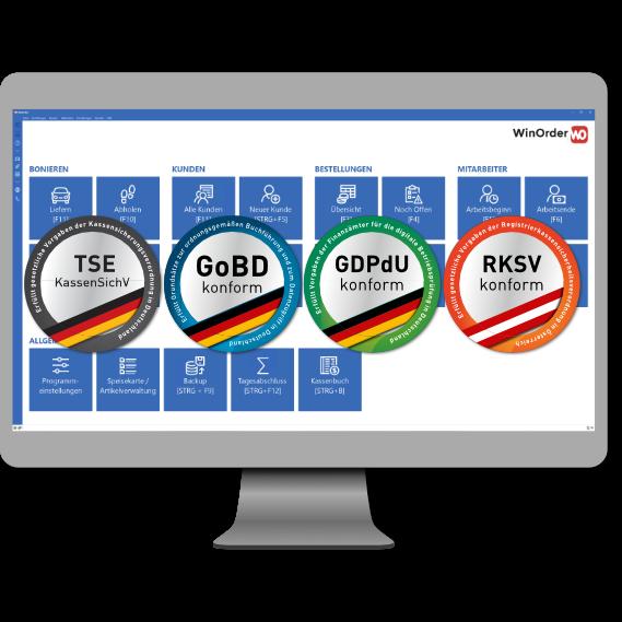 WinOrder Kassensoftware erfült Anforderungen nach GoBD / GDPdU (DE) und RKSV (AT) und ist vorberietet für TSE und Kassensicherungsverordnung in Deutschland