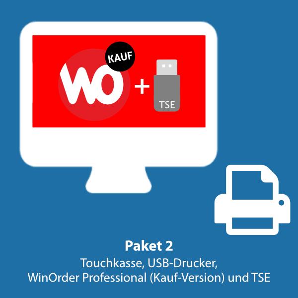 Paket 2: WinOrder Professional (Kauf-Version) inkl. Touchkasse, USB-Bondrucker und SwissBit TSE