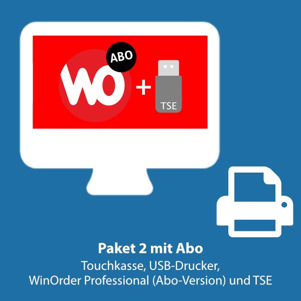 Paket 2: WinOrder Professional (ABO-Version) inkl. Touchkasse, USB-Bondrucker und SwissBit TSE