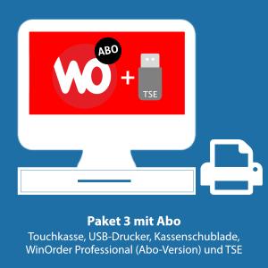 Paket 3: WinOrder Professional (Abo-Version) inkl. Touchkasse, Bondrucker, Kassenschublade und TSE