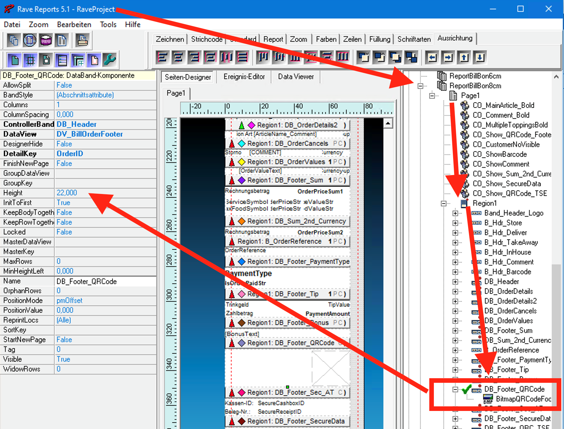 FAQ: QR-Code auf Rechnung im Berichtdesigner vergrößern - Band-Höhe einstellen