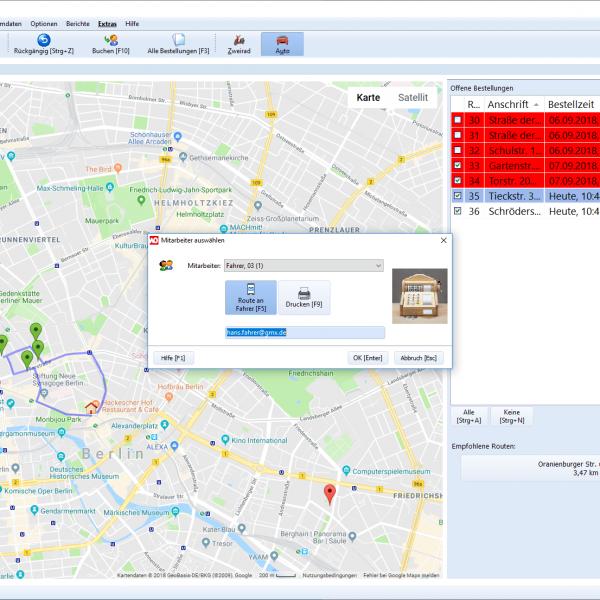 Screenshot (Ausschnitt): Tourenzuordnung an Fahrer