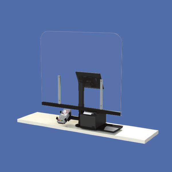 Virenschutz für POS und Kasenplatz mit Monitor Drucker und Zahlungsgerät-Halterung