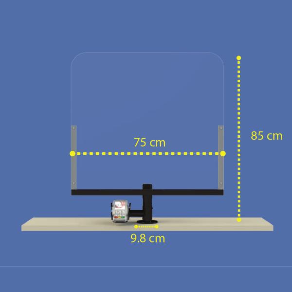 Kassenschutz aus Acrylglas (75x85cm) inkl. Halter für Zahlungsgerät