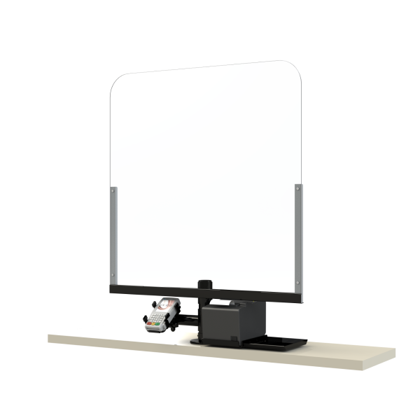 Schutz für Kassenplatz vor Viren und Bakterien (z.B. Covid 19) mit Drucker und Zahlungsgerät-Support (1200x1200)