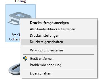 Windows-Systemsteuerung: Druckereigenschaften für Star TSP