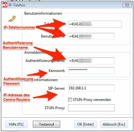 SwissCom Centro Business 2.0 Router: Eintragen der VoIP-Zugangsdaten in WinOrder