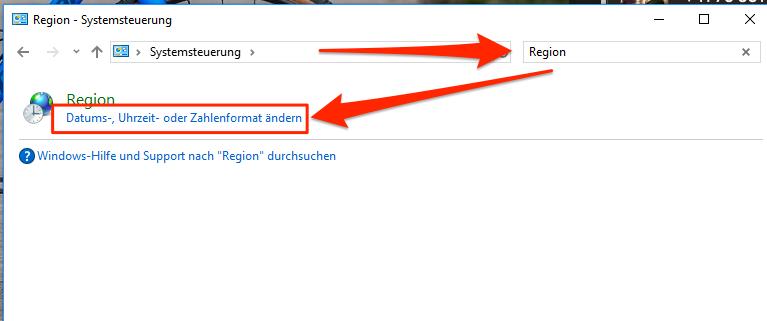 Windows Systemsteuerung: nach 'Region' suchen