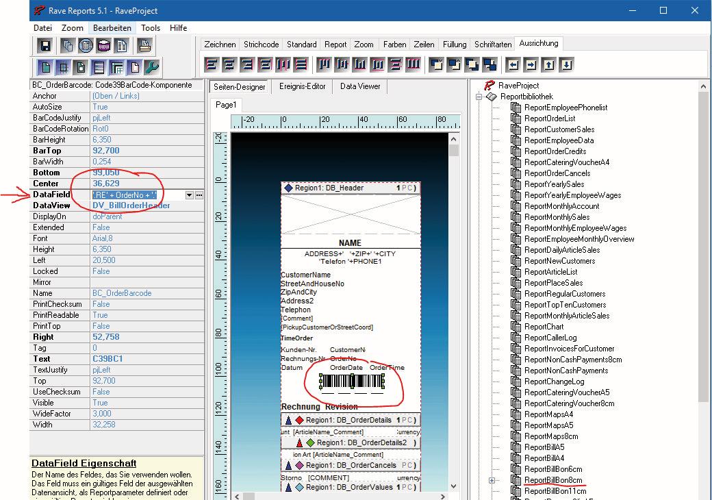 FAQ: Tourenbuchung per Scanner - Barcode auf Rechnungsvorlage anpassen (DataField)