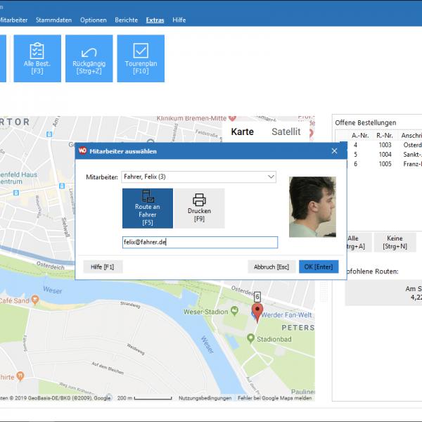 Screenshot (Ausschnitt): visuelle Tourenzuordnung/Routenplanung mit Fahrerzuweisung