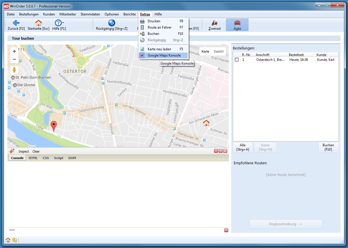 Google Maps Konsole