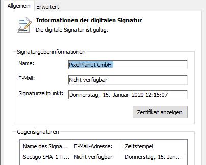 Informationen der digitalen Signatur