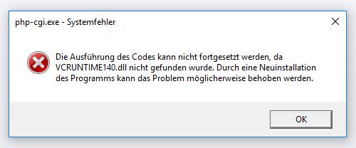 php-cgi.exe Fehlermeldung bzgl. VCRUNTIME