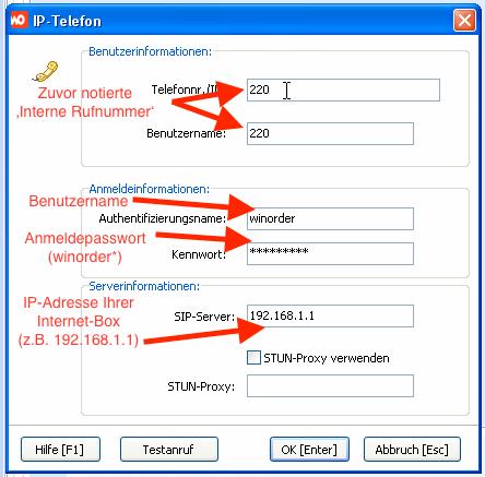 SwissCom Internet-Box - Einstellungen in WinOrder